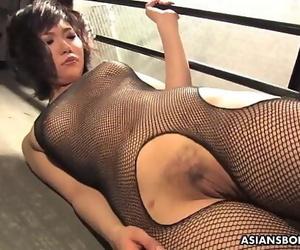 Slutty black-haired in fishnet bodystocking, Kana Mimura..