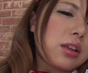 Reika Ichinose tries playthings up her cramped pussy and..