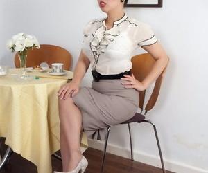 Asian mature secretary Tigerr Benson gets sloppy in her..