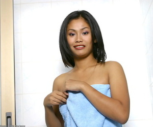 Inexperienced Asian stunner flaunting big wet boobs and..