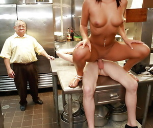 Latina mummy Gianna Nicole pounds in kitchen with a cook..