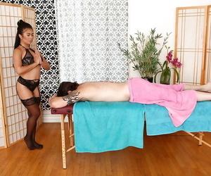 Asian hotty Maya Mona caresses a naughty guy and gives a..