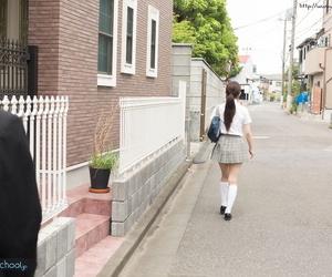 Japanese schoolgirl strips her uniform and has hook-up..