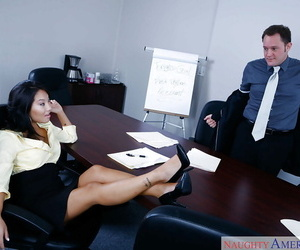 Asian Mummy Asa Akira goes wild on cock while alone with..