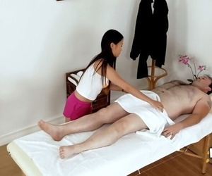 Asian masseuse Pussykat is big-boobed her customers..