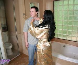 Beautiful Asian babe Mya Luanna puts juices on her boobs..