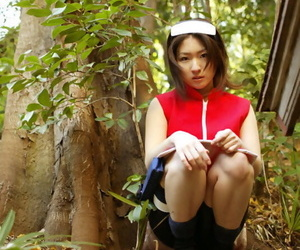Naughty asian babe with little forms Saeki Mai taunting..