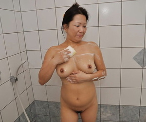 Asian Mummy with shaggy cooter and shapely knockers Kumiko..