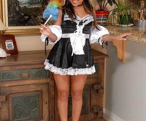 Asian first timer Tinah flashing black undies funbag uniform