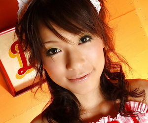 Cuddly asian teenage Kaho Kasumi slowly unveiling her..