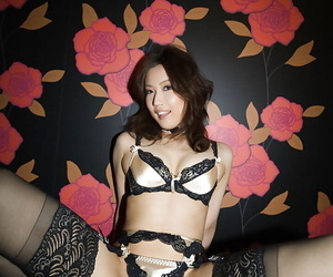 Haruka Yagami taking off her lingerie and spreading her..