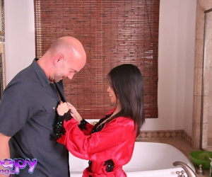 Promiscuous asian massagist gives head and jerks a man..