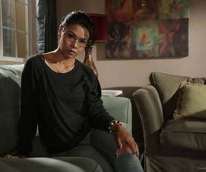 Nerdy Dana Vespoli peels off off her examine clothes and..