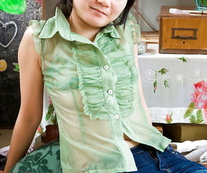 Adorable petite tit Asian unexperienced Oksana stretching..