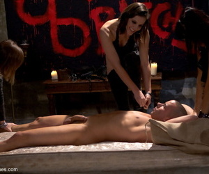 3 cruel bitches tease a submissive male until probing..