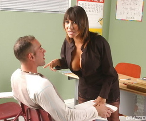 Thick titted Asian MILF teacher Ava Devine satisfies a..
