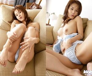Sexy asian coed Takane Hirayama showing her big bosoms and..