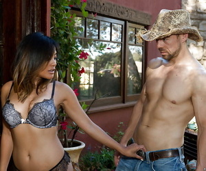Asian milf wife Kaylani Lei portion blowjob and receives..