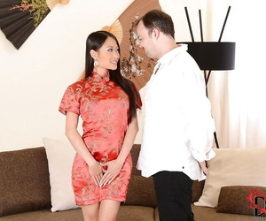 Neat Asian black-haired PussyKat presents him..