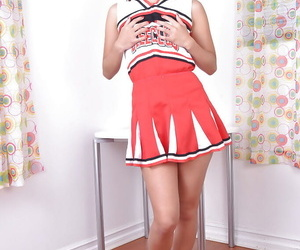 Puny Asian hotty Mila Jade onanism clean-shaved upskirt..