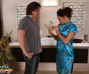 Brilliant Asian worker with greased tits Ariel B puts cunt..