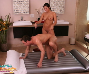 Winsome Asian honey London Keys lubes that hard-on and..