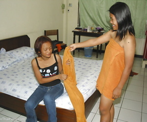 Joyful Asian lesbos May and Fun take shower and get..