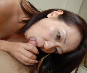 Wild Asian chick eating testicles and dick in titillating..