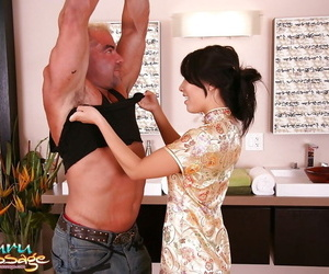 Warm asian woman gives a soapy massage ending up with a..