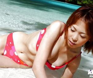 Beautiful asian babe Minami Aikawa posing in underwear..