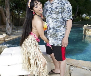 Buxomy Asian Mummy Gaia huge-titted a white dude beside..