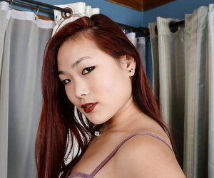 Unexperienced Asian slobber-filled spreads her shaven pink..