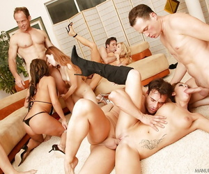 Wild groupsex with a bevy of busty MILFs ready to suck..