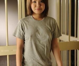 Sweet Japanese spit-filled enjoys showing off her splendid..