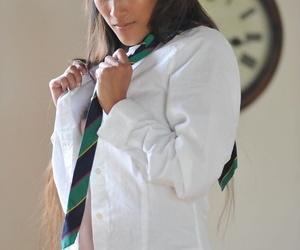 Asian glam model Ayla Sky undresses to schoolgirl socks..