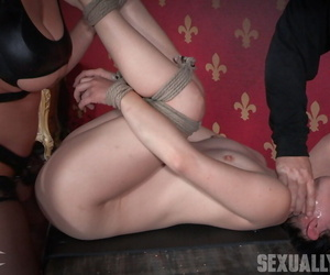 Asian chick gets tied and intensity fed rock hard shaft in..