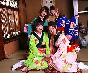 Hot youthful Japanese models eliminate their kimonos for..