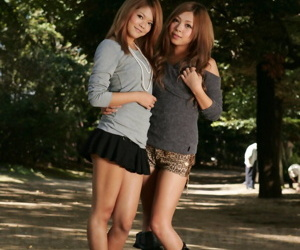 Stunning Japanese schoolgirls Tsubasa and Kanon making out..