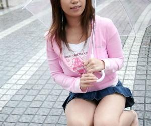 Pretty Japanese teenager Haduki sets her gorgeous knockers..