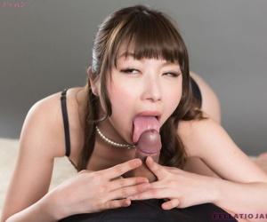 Adorable Japanese woman Katou Tsubaki sucking dick and..