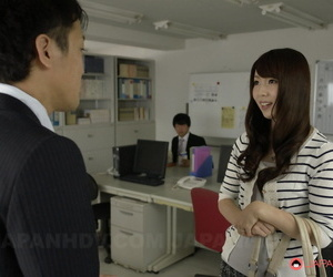 Japanese chick Yui Hatano spits cum into her palm after..