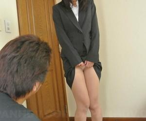 Nasty Asian office woman Kotomi Asakura lets her boss..