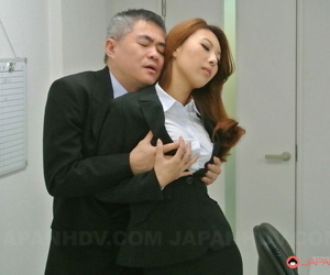 Asian stunner Mai Takizawa kneels and gives head to her..