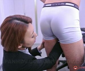 Lovely Asian lady Mai Takizawa tastes a guys ball sack and..