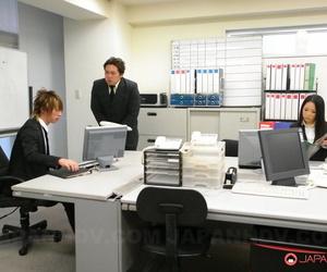 Japanese medical secretary Ai Mizushima sports a creampie..