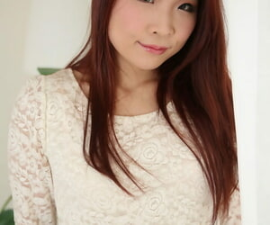 Asian redhead Reika Seto showcases her clam and gets it..