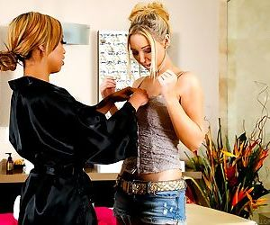 Angel Ashton and Honey Milani have interracial lesbian sex..