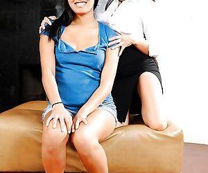 Asian females Gaia and Angelina Chung take turns coaxing..