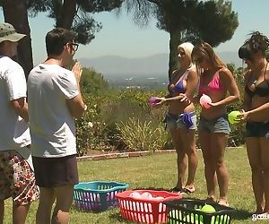 3 couples play group sex games while camping out in the..