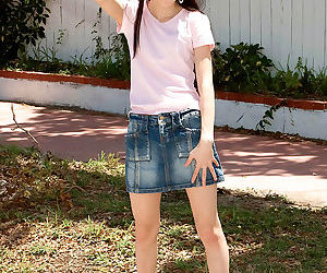 Very skinny Asian teen Amai Liu onher knees sucking &..